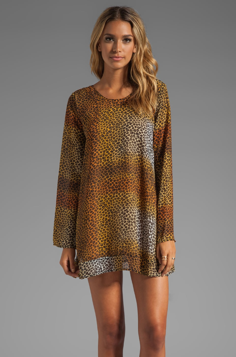 One Teaspoon Long Sleeve Dress in Cheetah