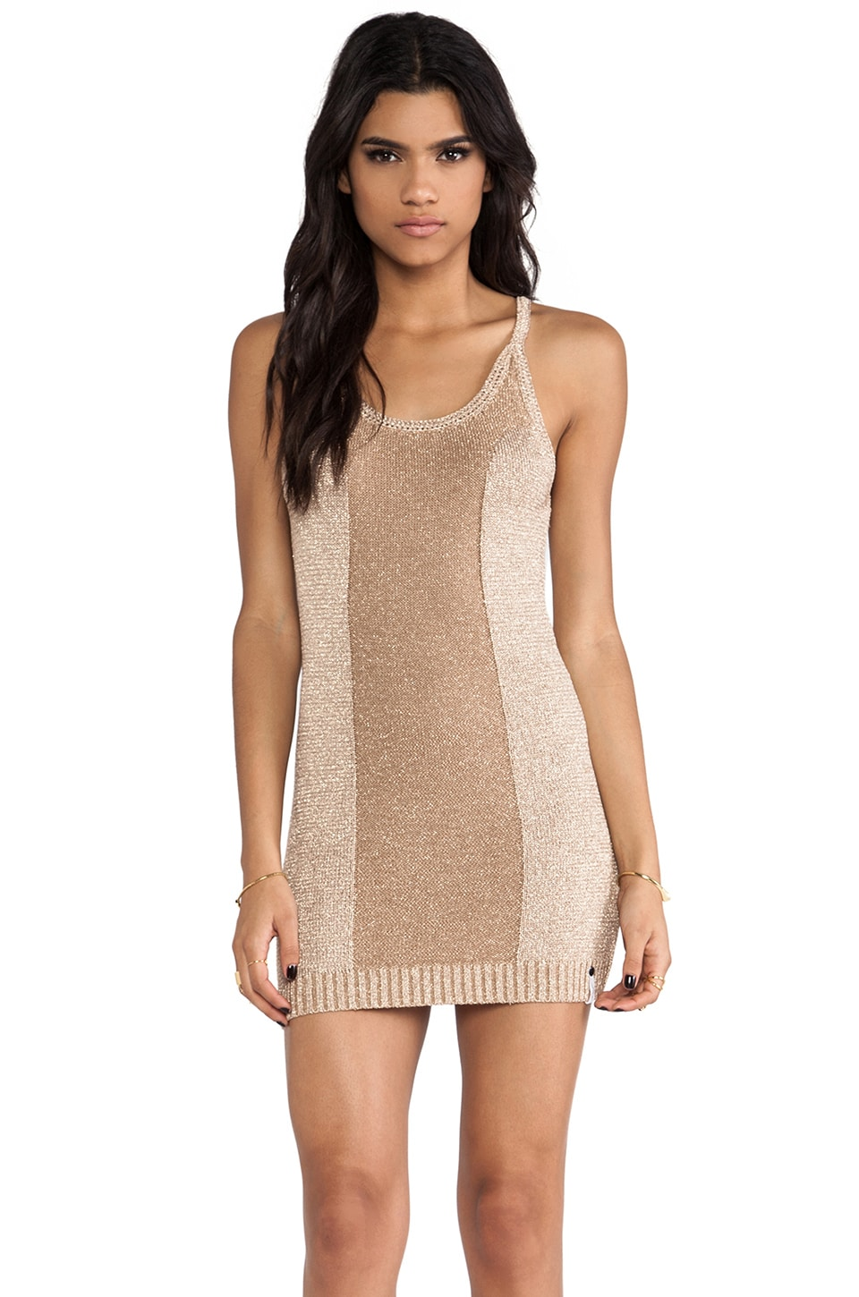 One Teaspoon Pacifica Knit Dress in Rose Gold