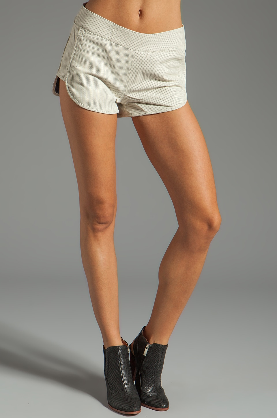 One Teaspoon Mercury Leather Short in Cream