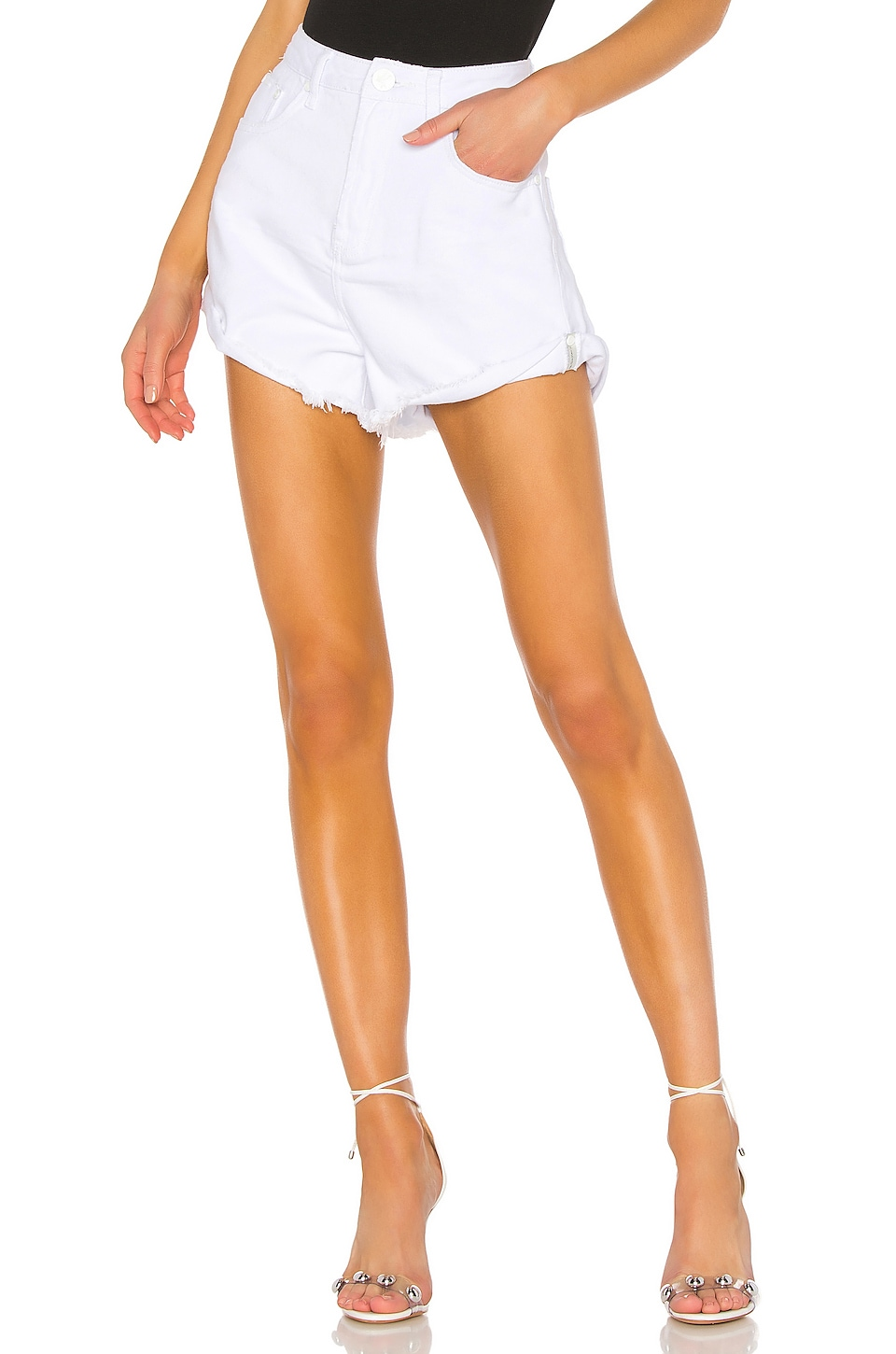 One Teaspoon Bandits High Waist Short in White Beauty