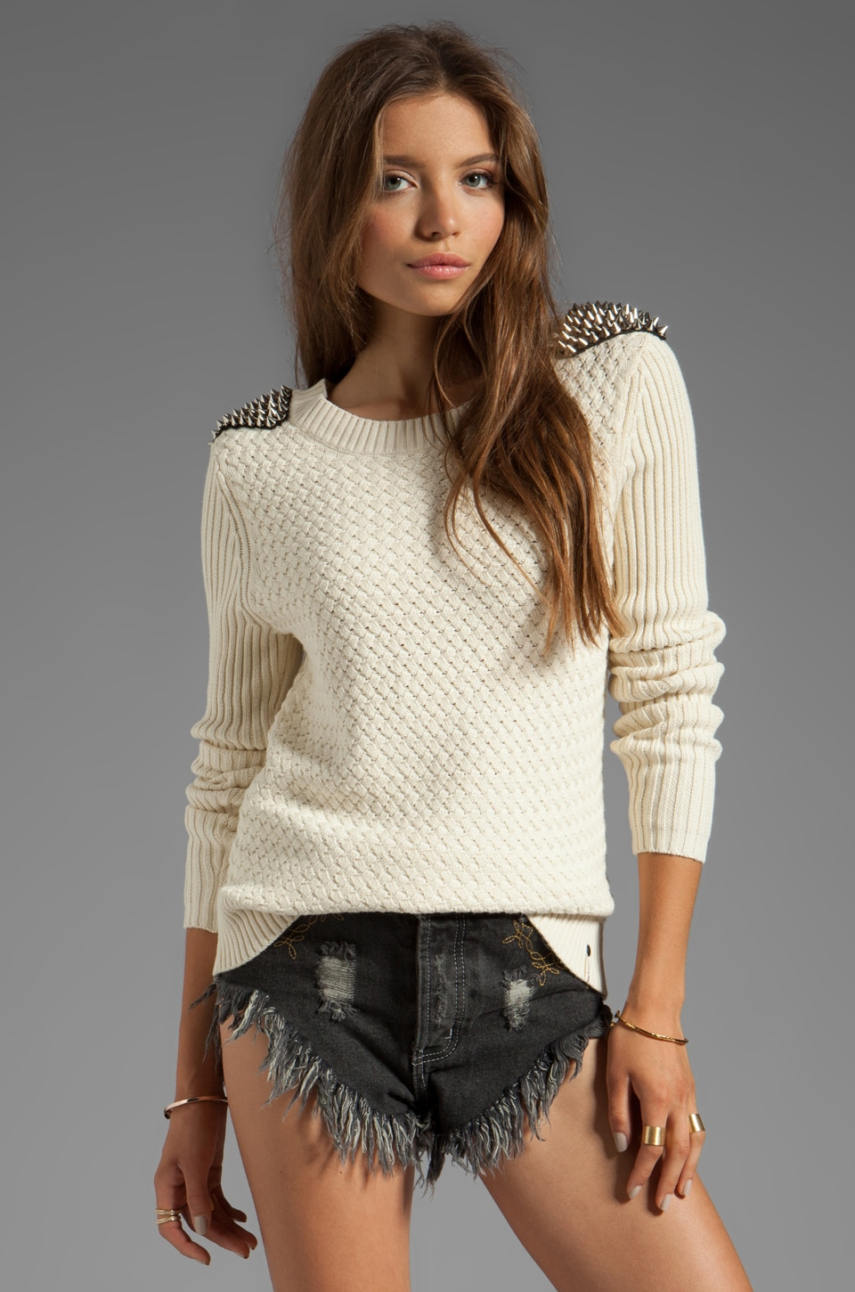 One Teaspoon Soul Captive Studded Knit in Cream