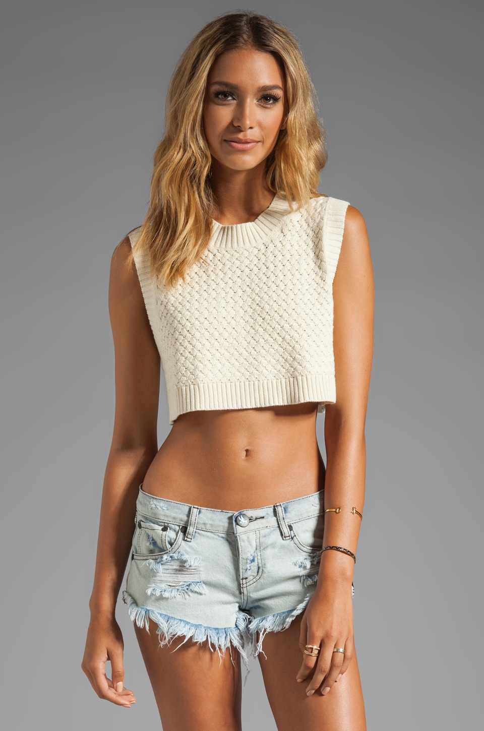 One Teaspoon Soul Captive Crop Knit in Cream