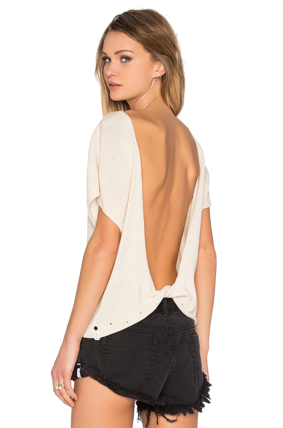 One Teaspoon Chateau Twist Back Sweater in Cream