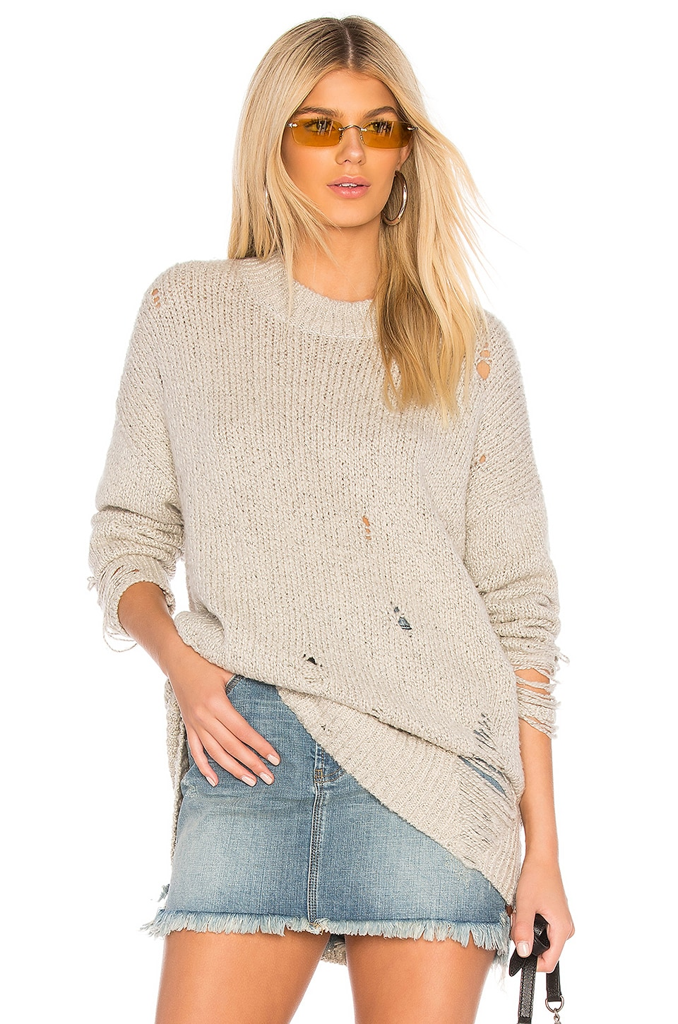 One Teaspoon Laddered Whiskey Sweater in Natural