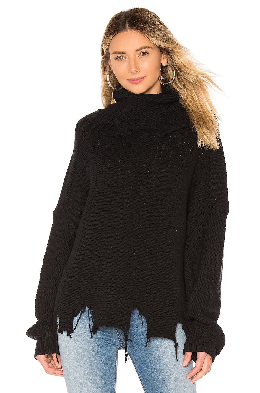 One Teaspoon Destroyed Turtleneck Sweater in Black