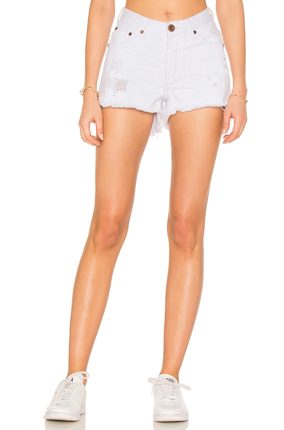 One Teaspoon High Waist Bonitas Short in White Beauty