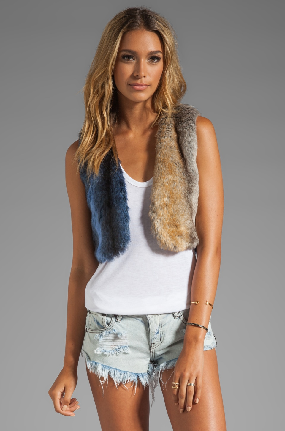 One Teaspoon Wild Domino Fur Vest in Blue/Grey
