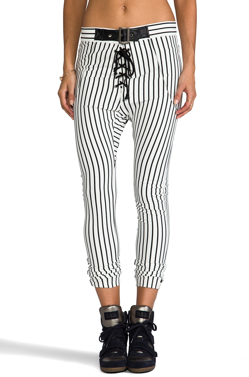 One Teaspoon Babylon Jagger Pant in White/Black