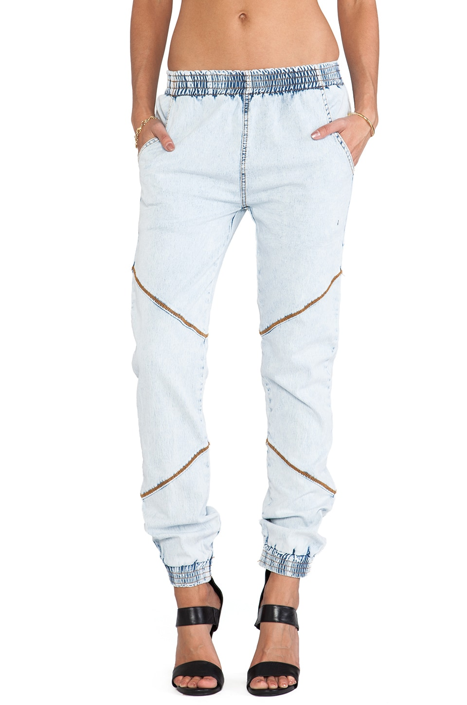 One Teaspoon Elasticated Trackies in Classic Chambray