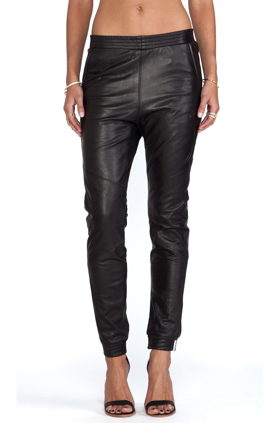 One Teaspoon Leather trackies in Black