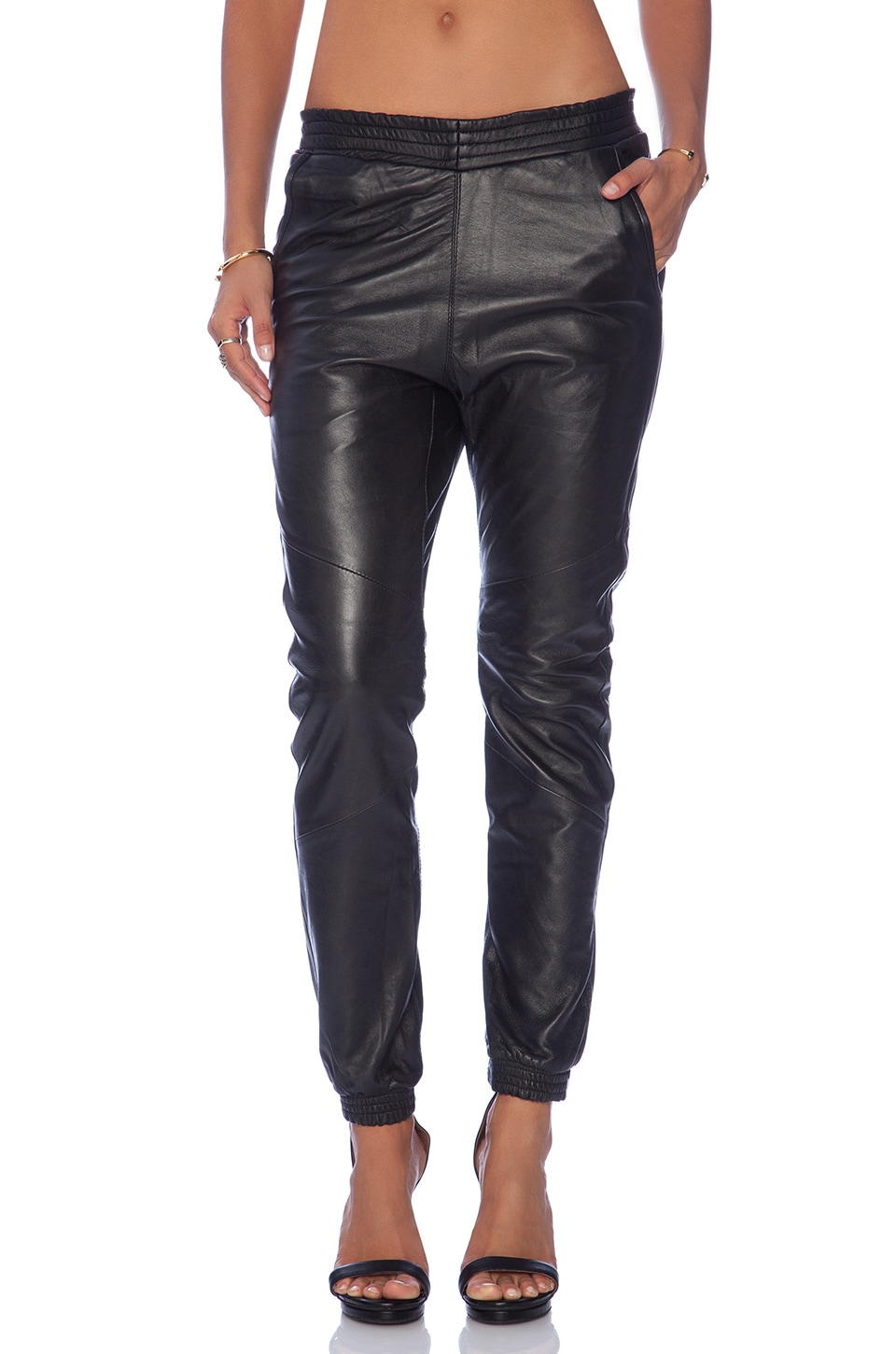 One Teaspoon Leather Super Trackies in Black