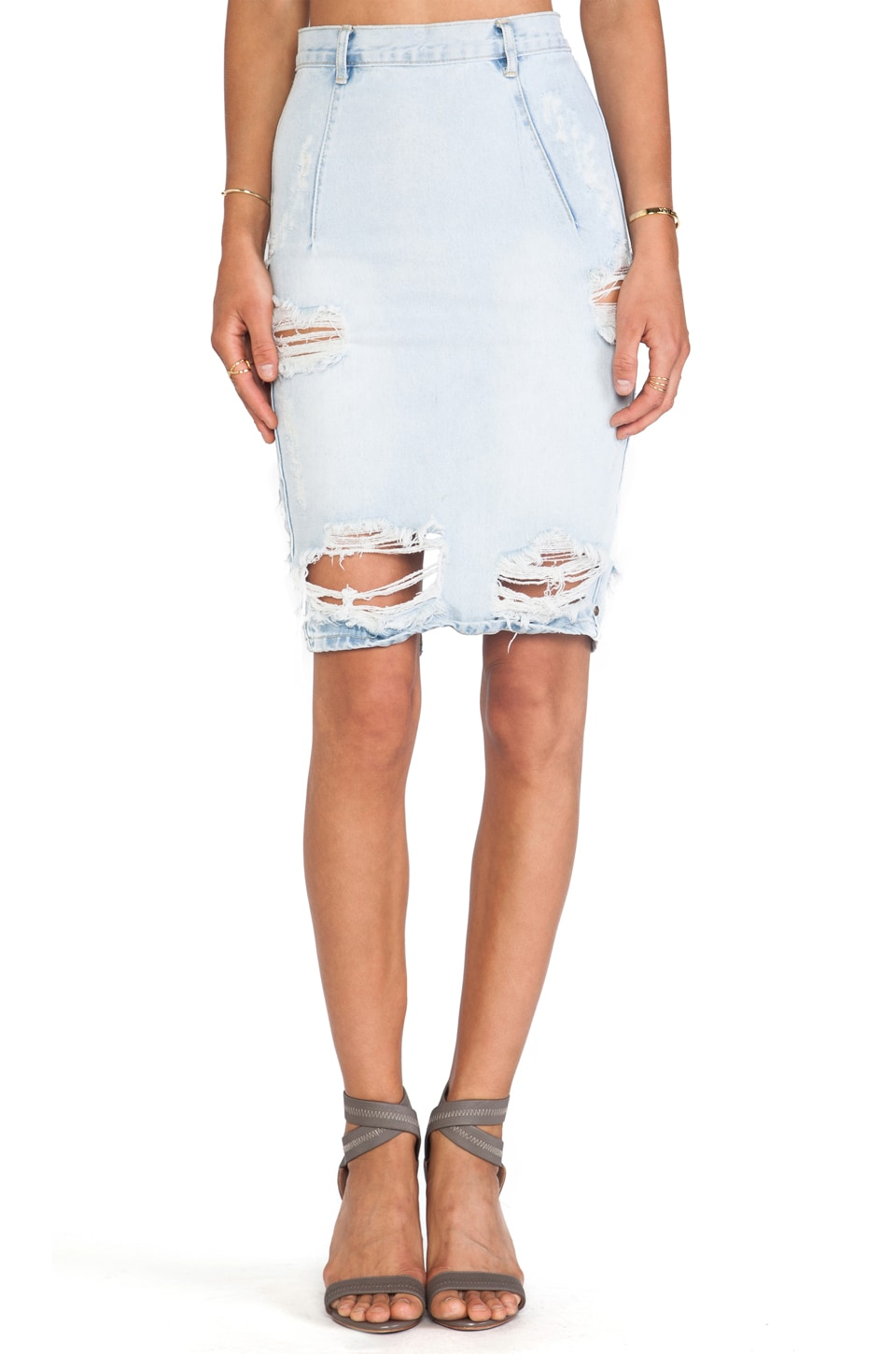 One Teaspoon Free Love Denim Pencil Skirt in Brando