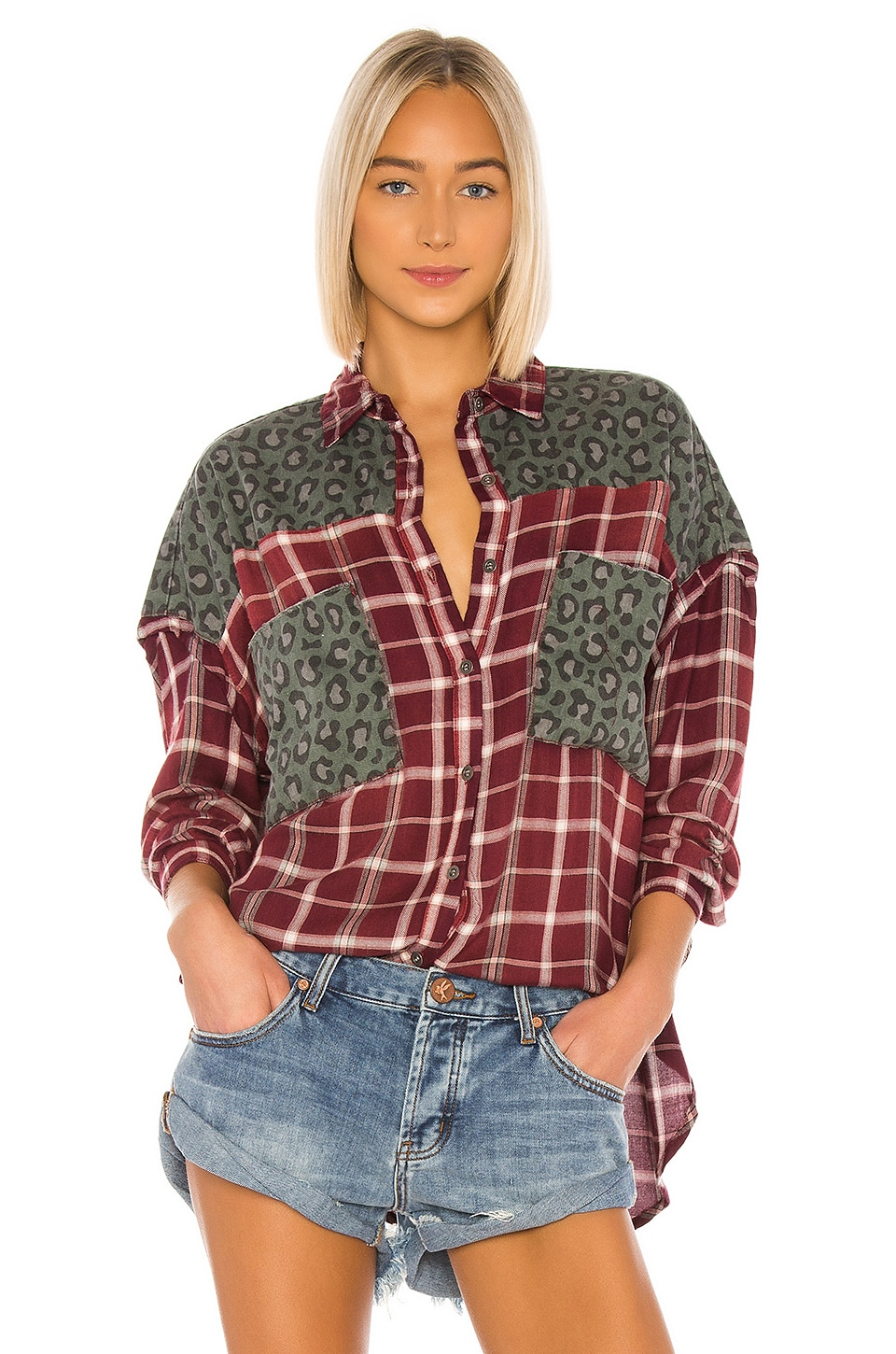 One Teaspoon Motley Shirt in Oxblood Check