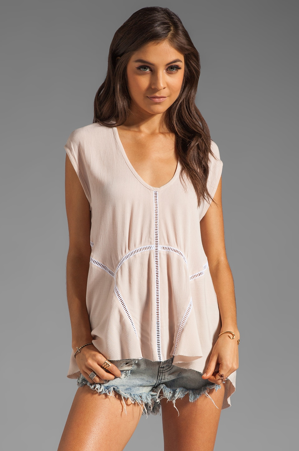 One Teaspoon Dirty Cash Cut Out Top in Dusty Pink