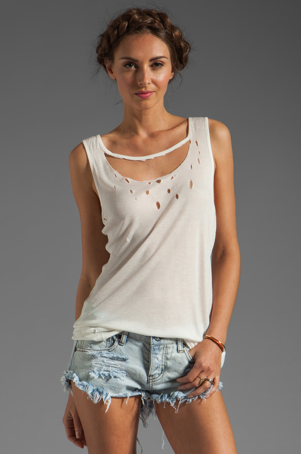 One Teaspoon Deralique Tank in White