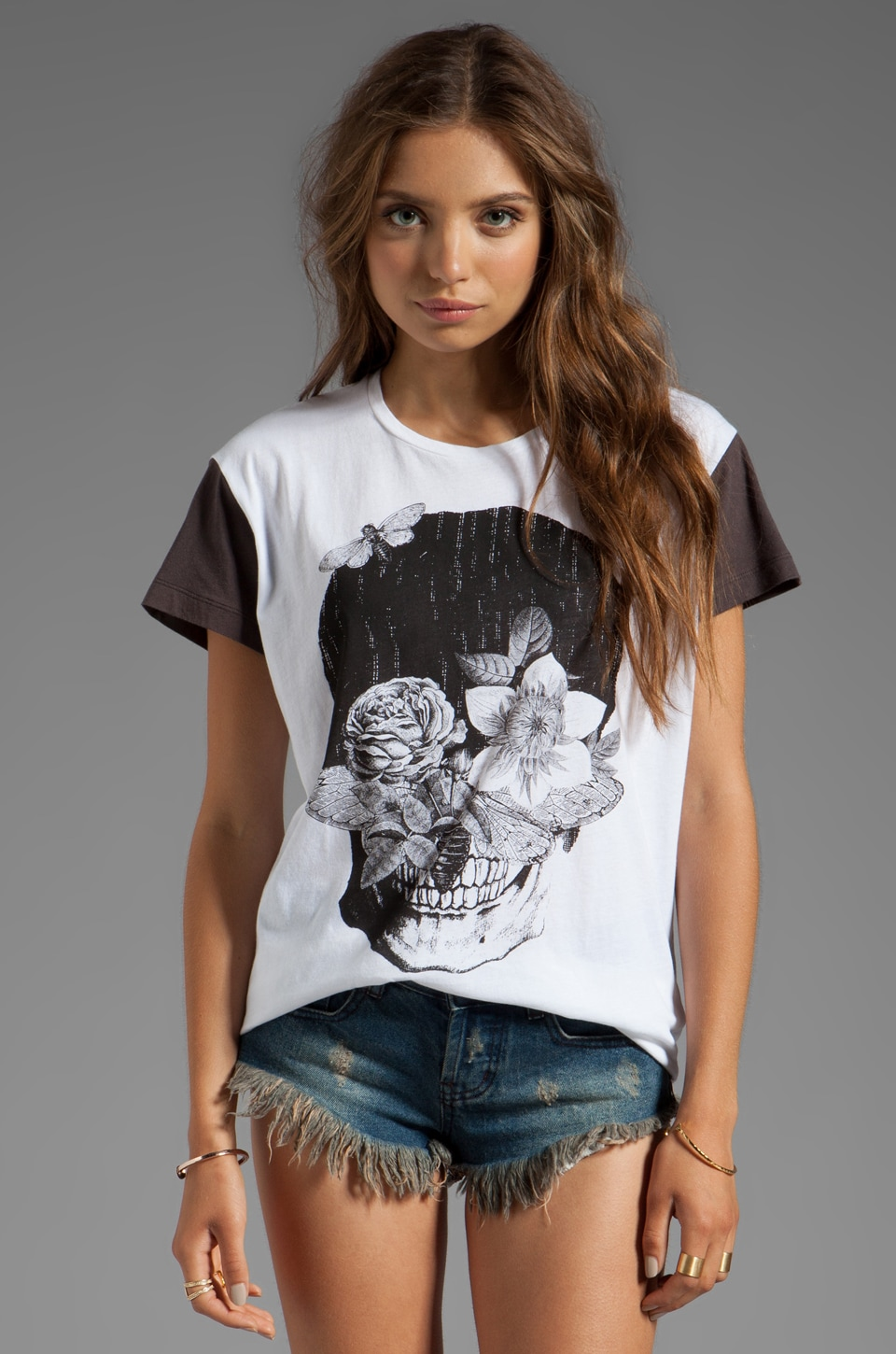 One Teaspoon Skull Flowers Gypsy Tee in White