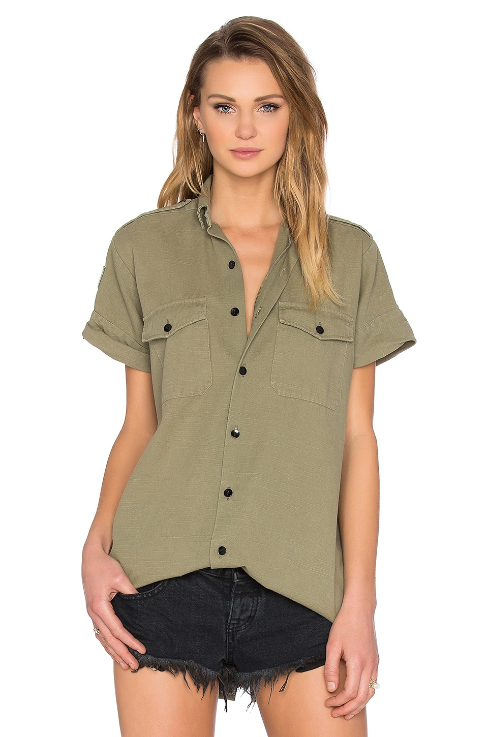 One Teaspoon Foxtail Button Up in Khaki