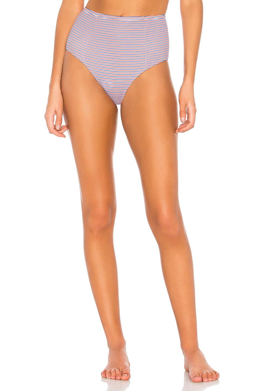 onia Leah Stripe Bikini Bottom in Rose Multi