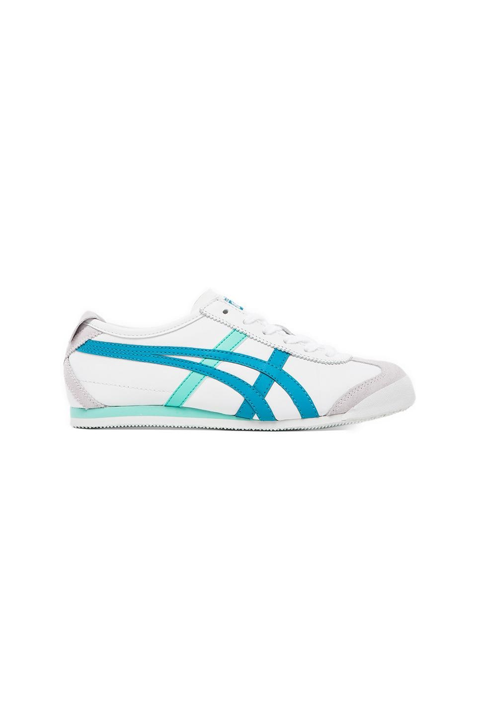 Onitsuka Tiger Mexico 66 Sneaker in White/Ocean Blue