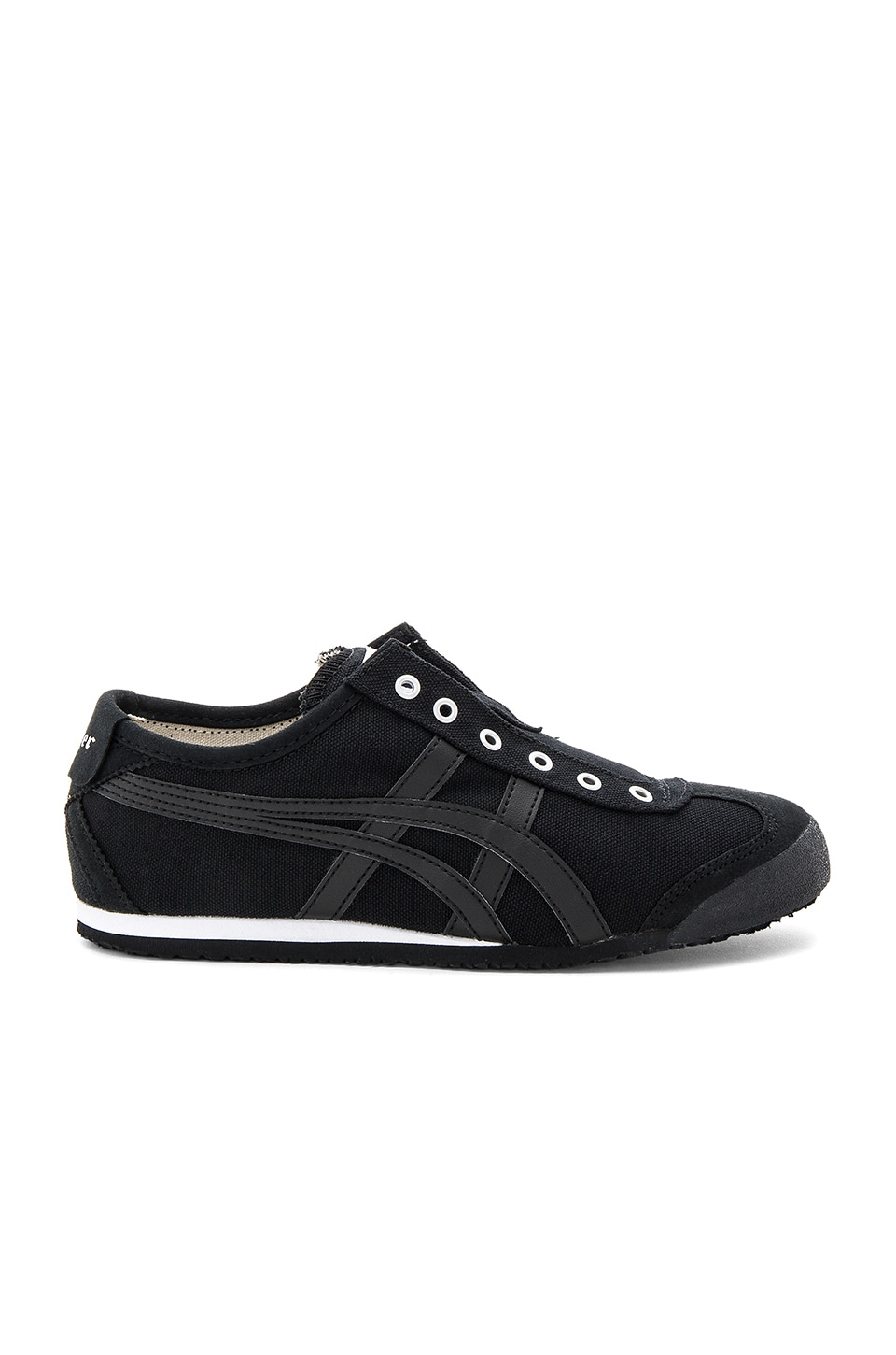 onitsuka tiger mexico 66 slip on black and white letra jersey