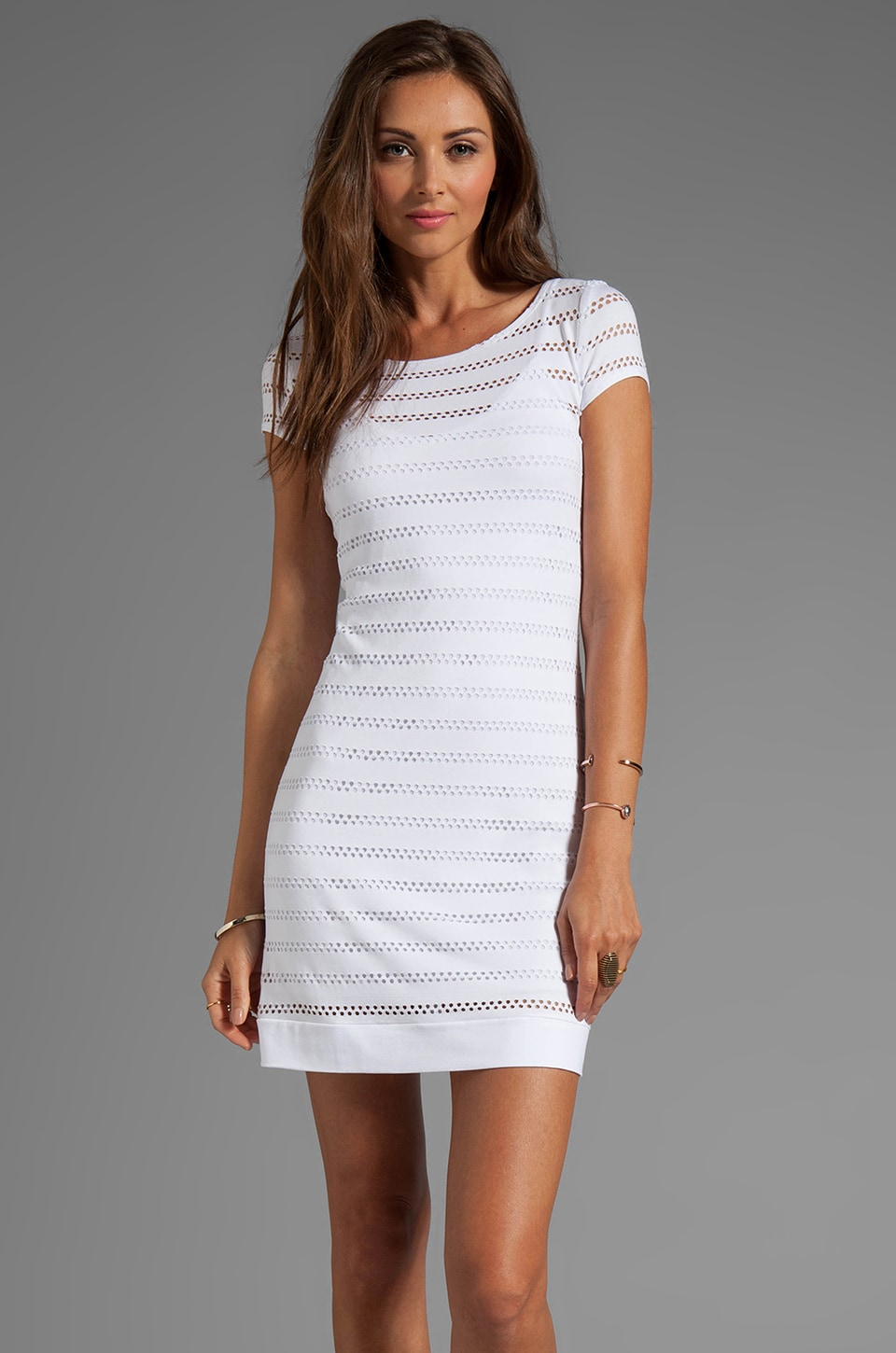 Only Hearts Eyelet Jersey Cap Sleeve Shift Dress in White