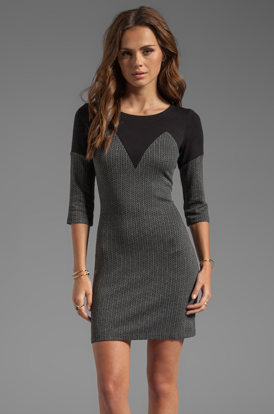 Only Hearts Herringbone Stripe Mini Dress in Charcoal
