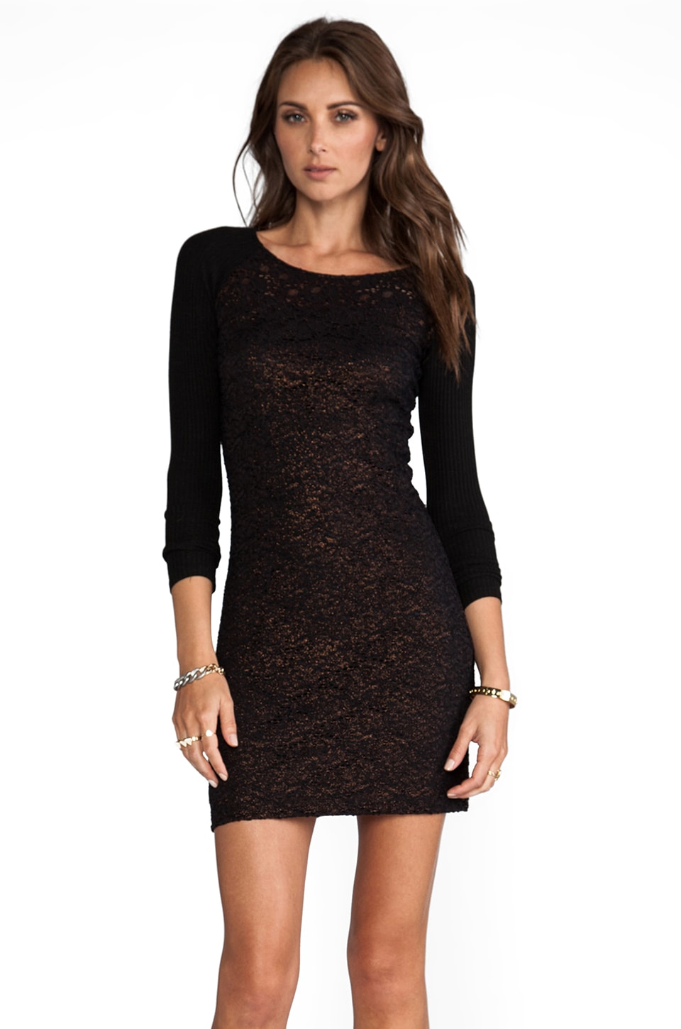 Only Hearts Lace Raglan Dress in Copper