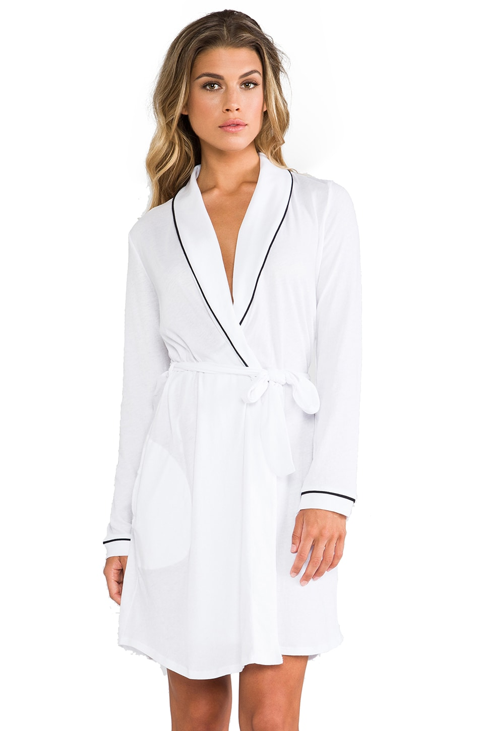 Only Hearts Organic Cotton Piped Short Robe in White/Black