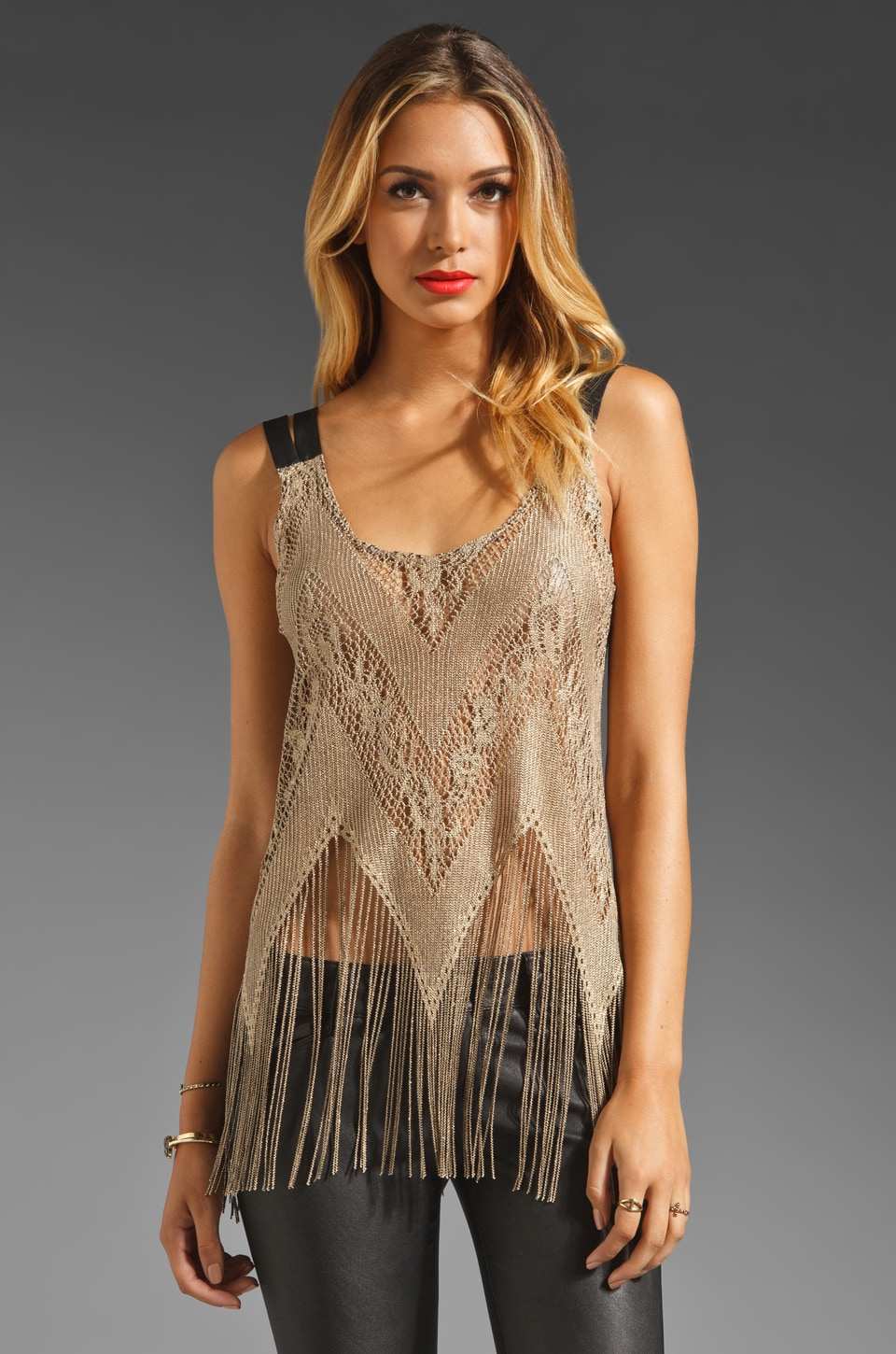 Only Hearts Lady Day Fringe Tank in Antique Gold