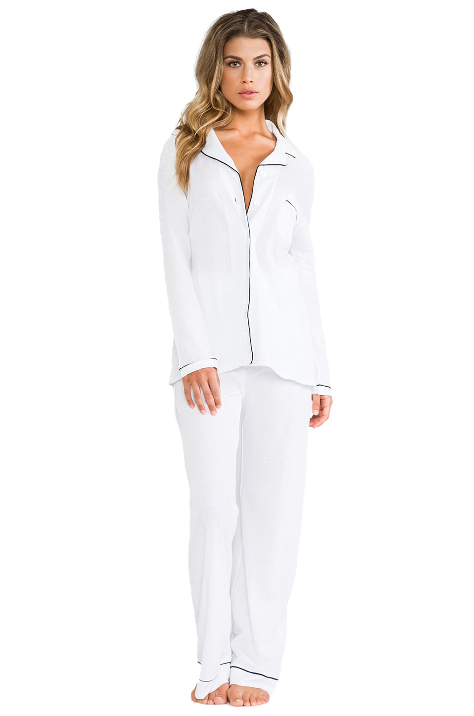 Only Hearts Organic Cotton Piped Pajama Set in White/Black