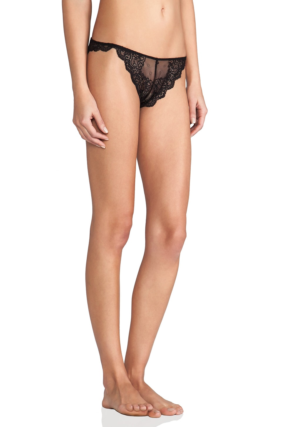 Only Hearts So Fine Lace Thong in Black