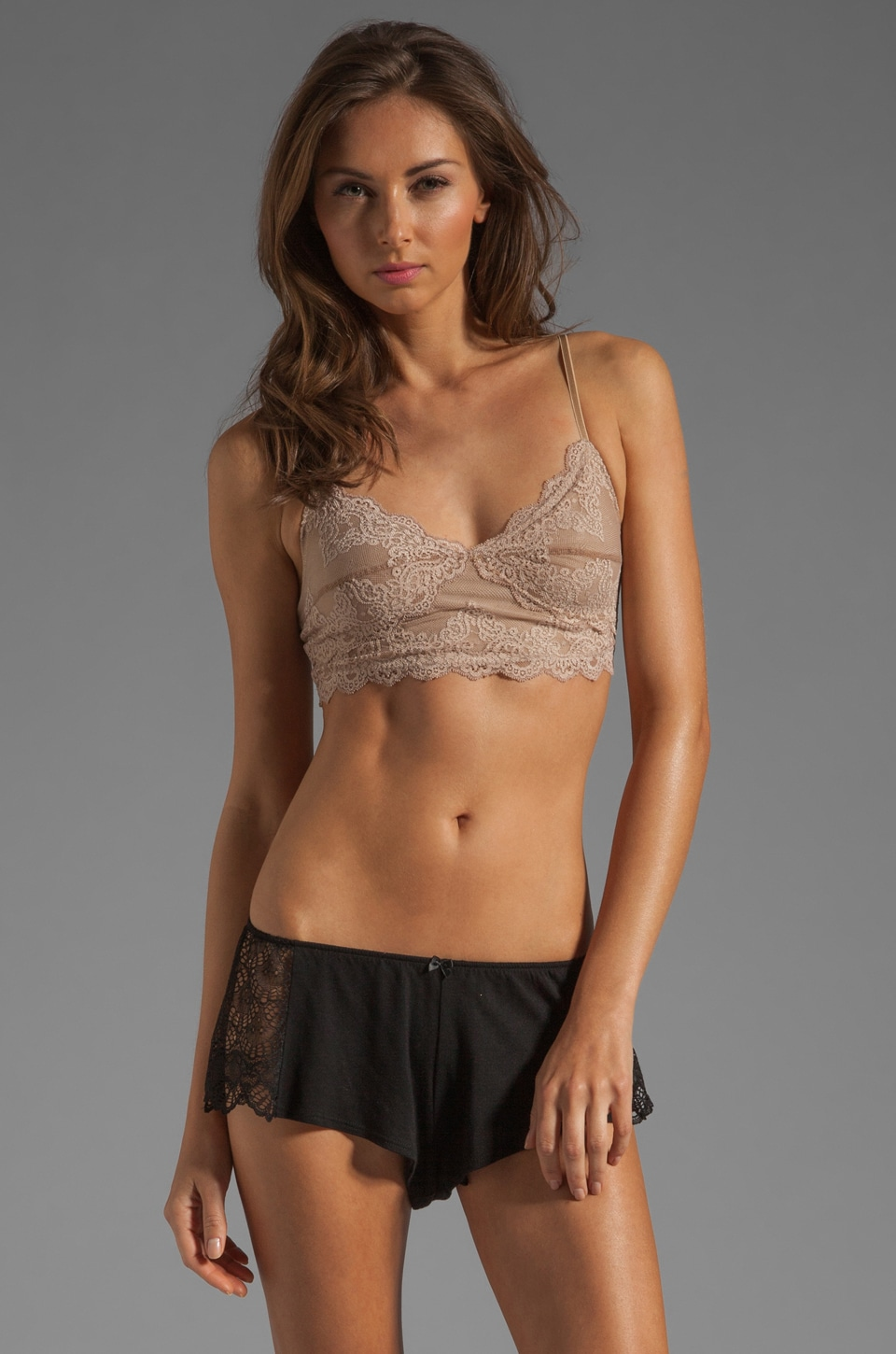 Only Hearts So Fine Lace Long Line Bralette in Caramel
