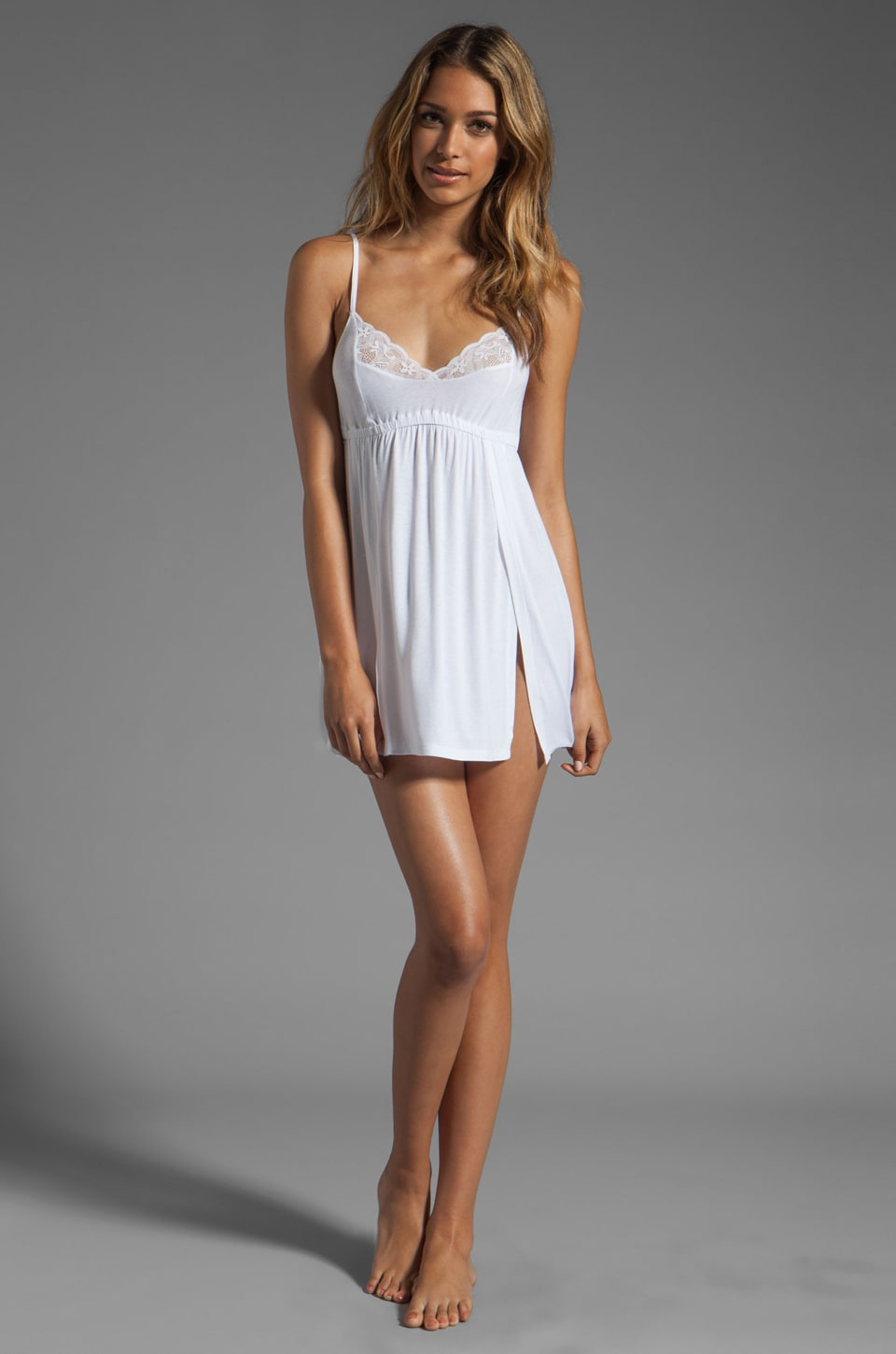 Only Hearts Feather Weight Chemise in White
