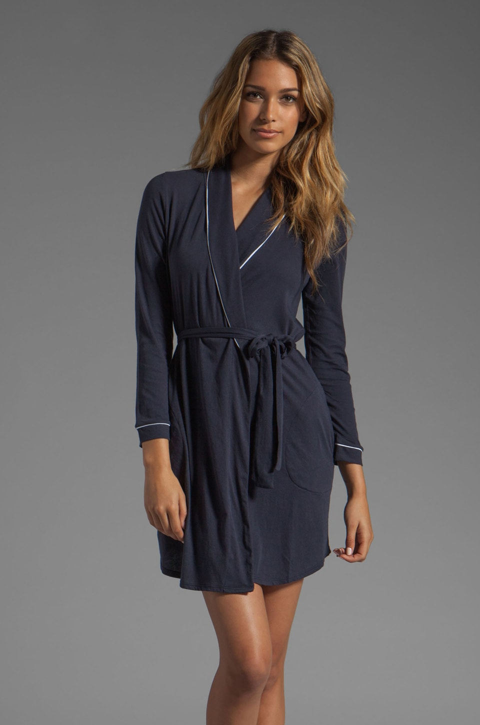 Only Hearts Organic Cotton Piped Short Robe in Navy/White