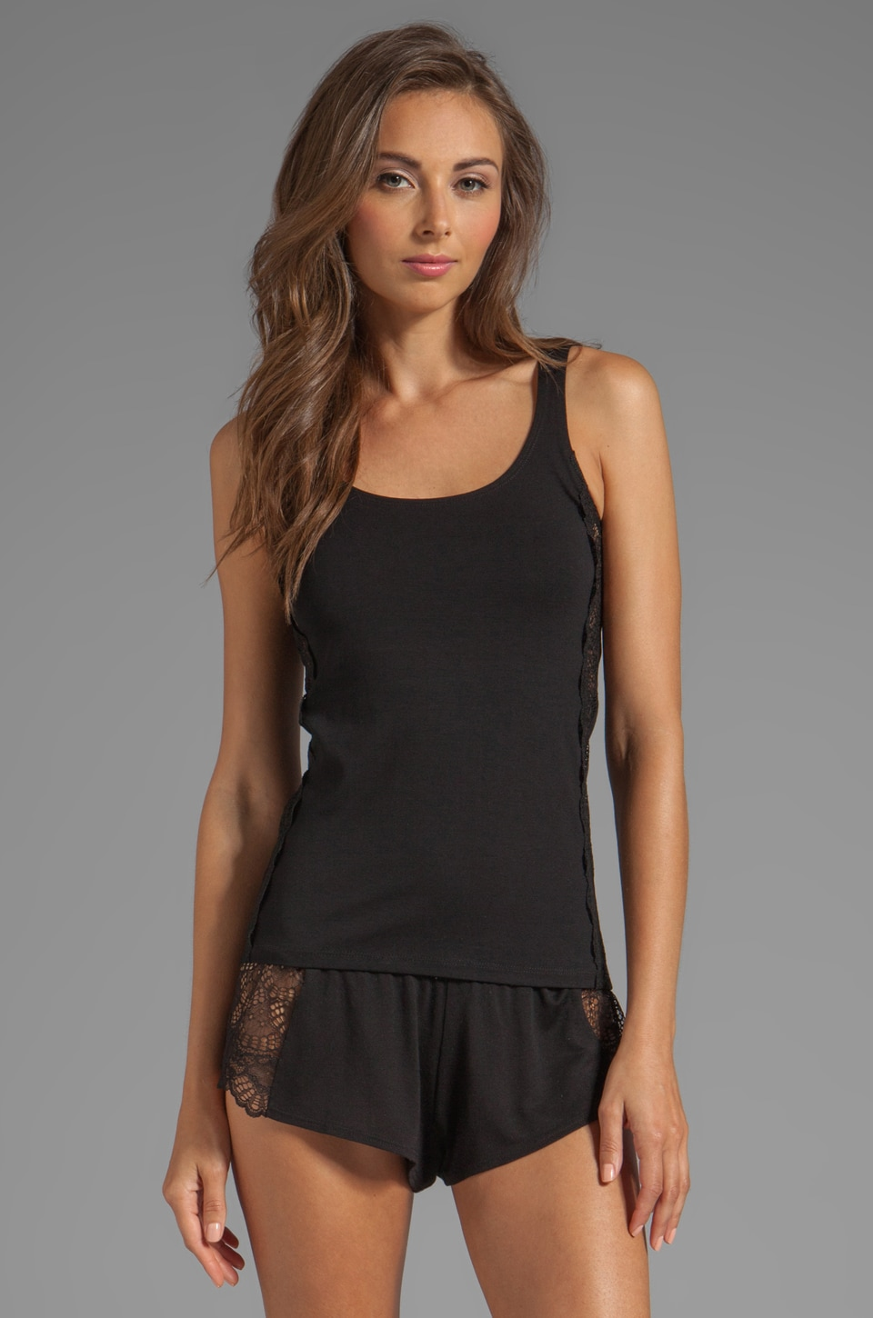 Only Hearts So Fine Lace Skinny Tank in Black/Black