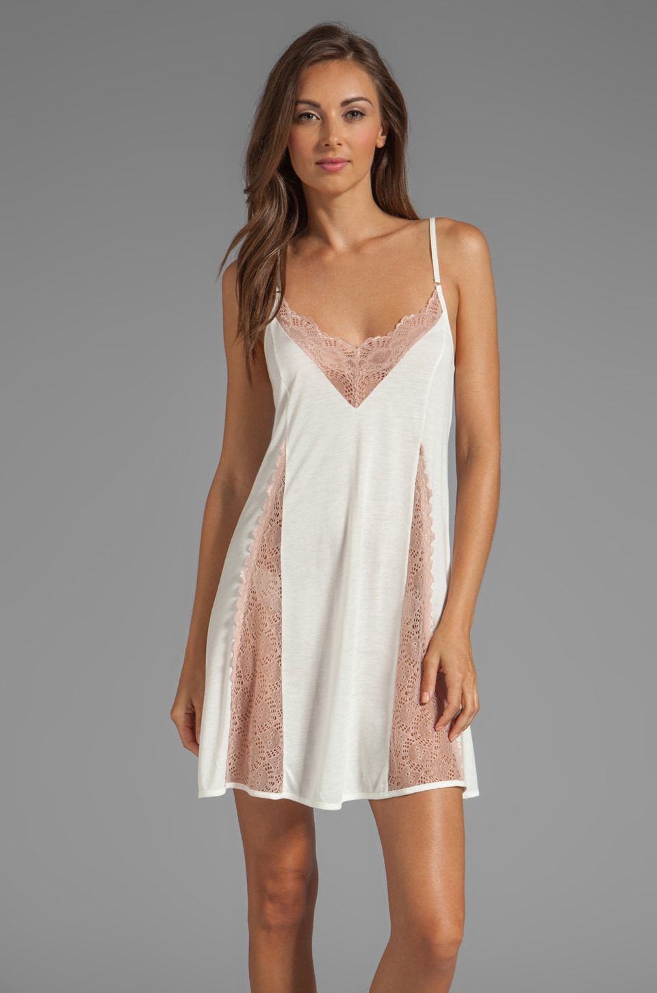Only Hearts Venice Princess Chemise in White/Petal