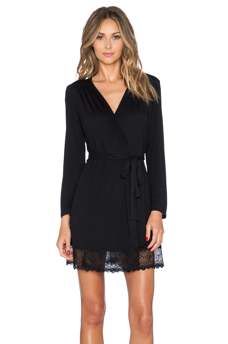 Only Hearts Venice Short Robe with Lace Hem in Black