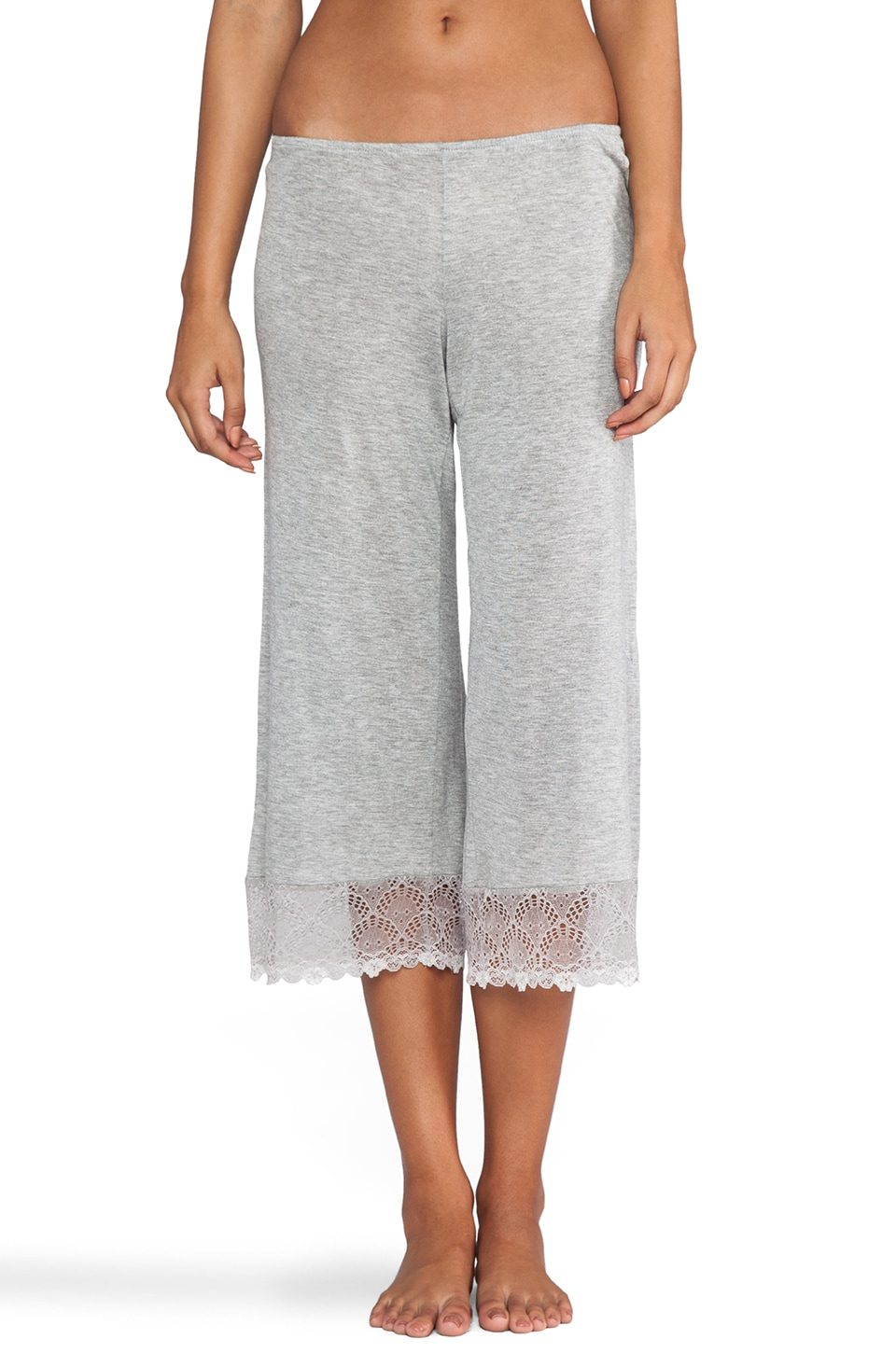 Only Hearts Venice Cropped Pants with Lace Hem in Heather Grey