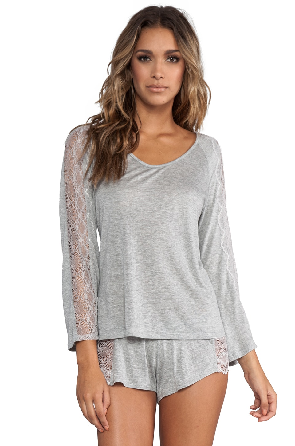 Only Hearts Venice Lace Inset Raglan in Heather Grey