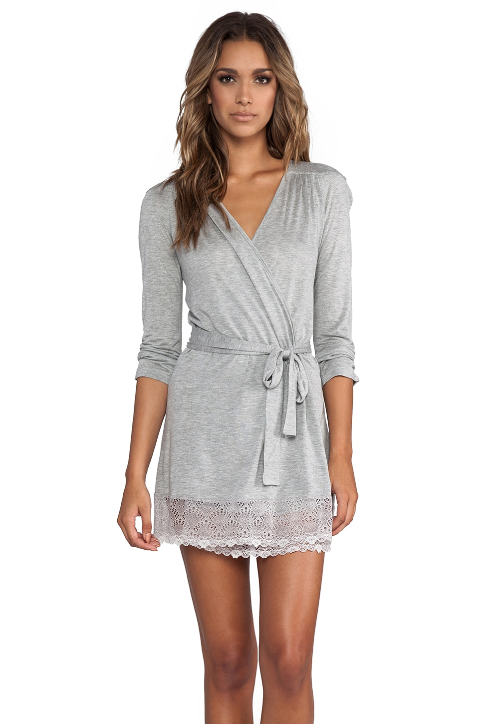 Only Hearts Venice Short Robe with Lace Hem in Heather Grey