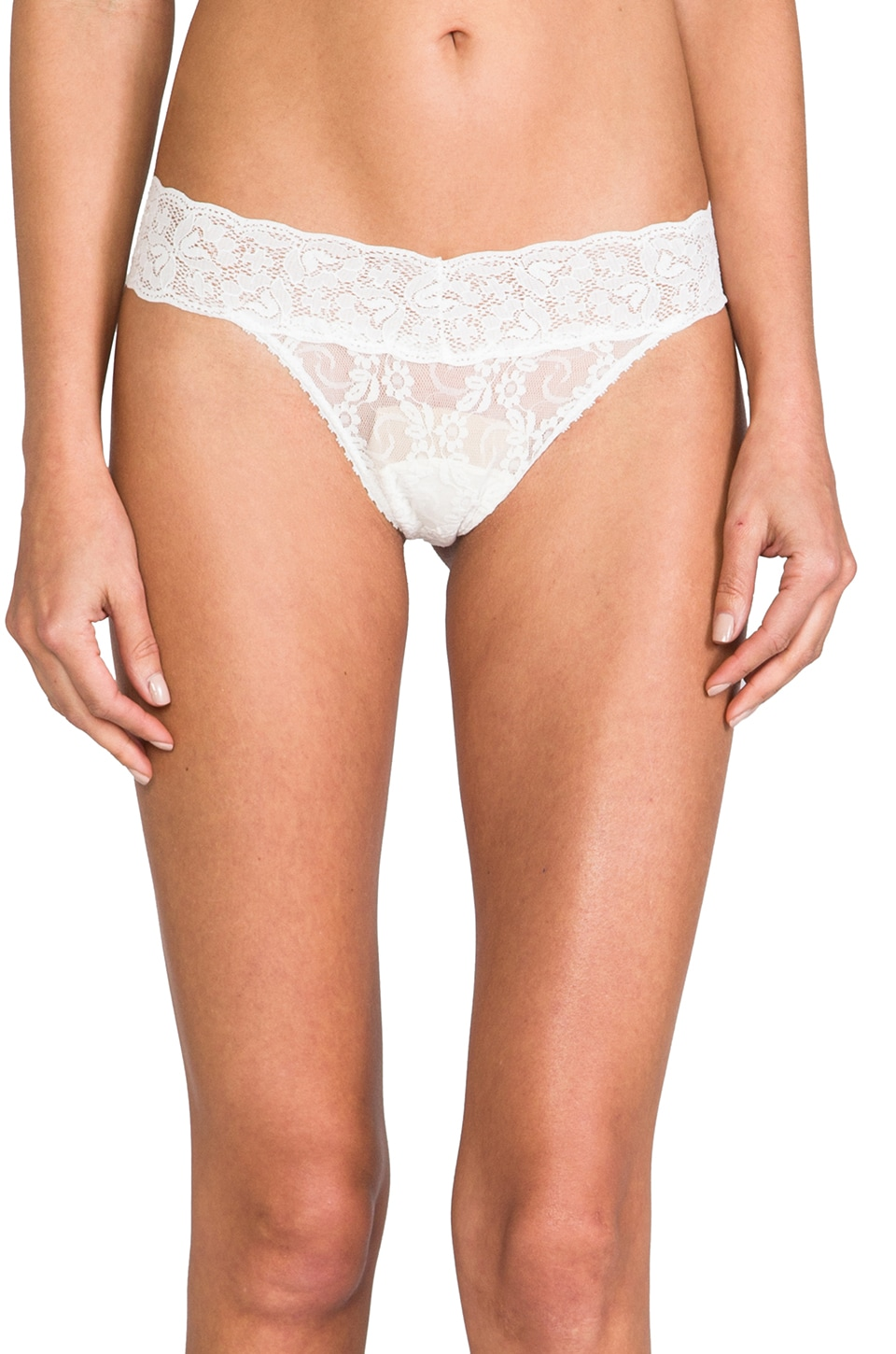 Only Hearts Stretch Lace Low Rise Thong in Vanilla