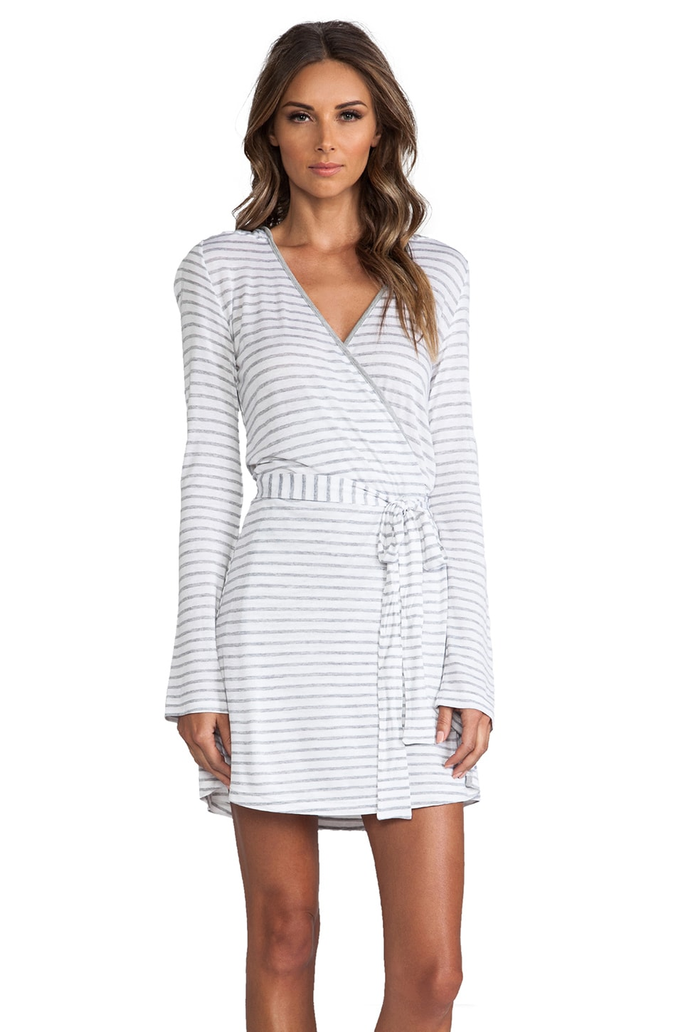 Only Hearts Robe in Heather Grey Stripe