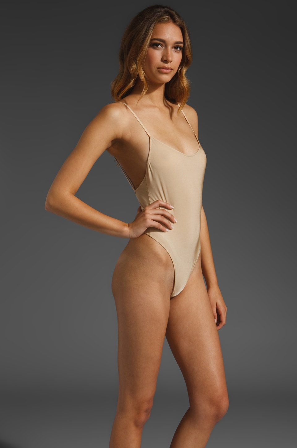 Only Hearts Second Skins Lowback Bodysuit in Nude