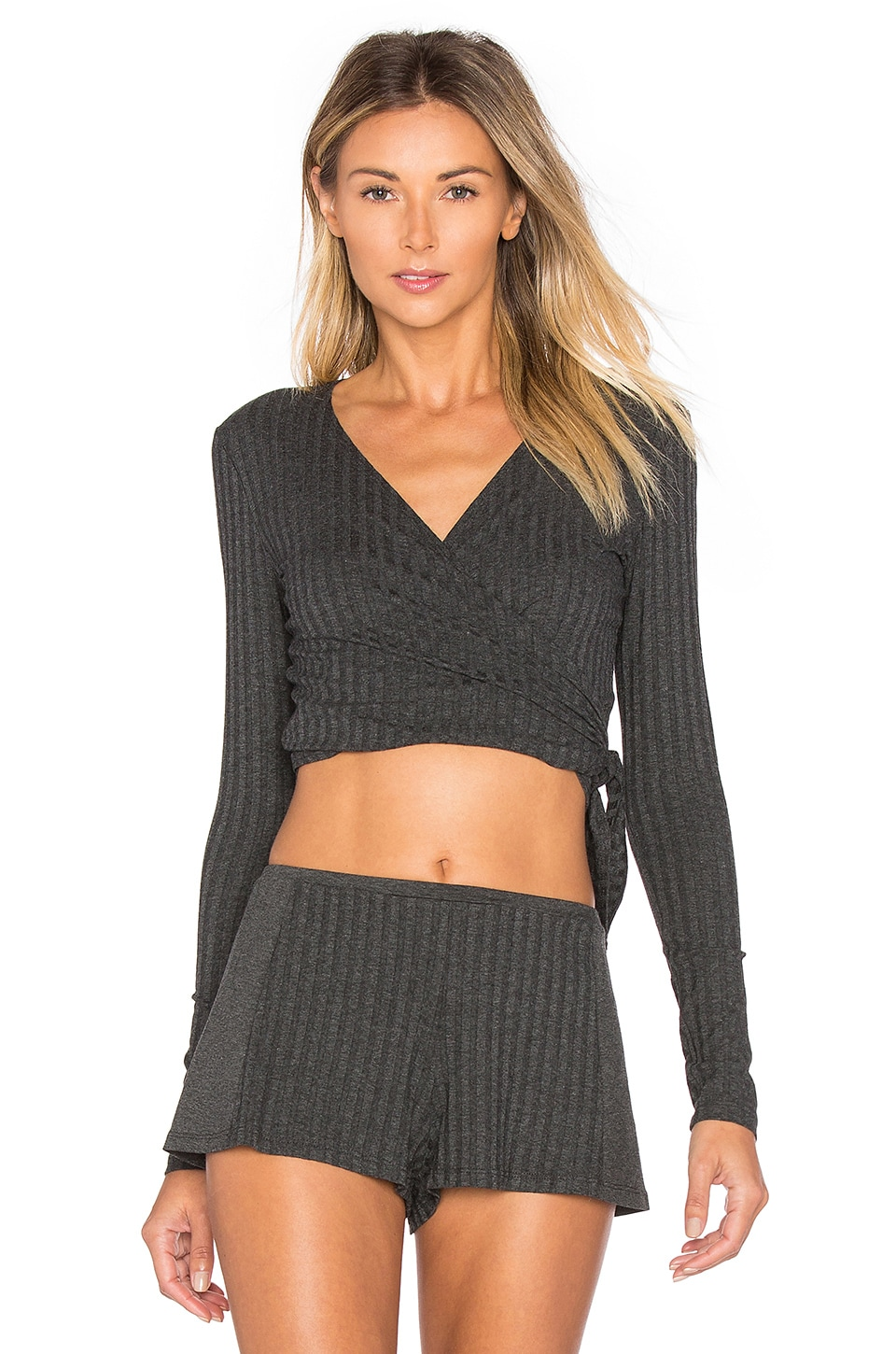 Wide Wale Rib Wrap Top by Only Hearts