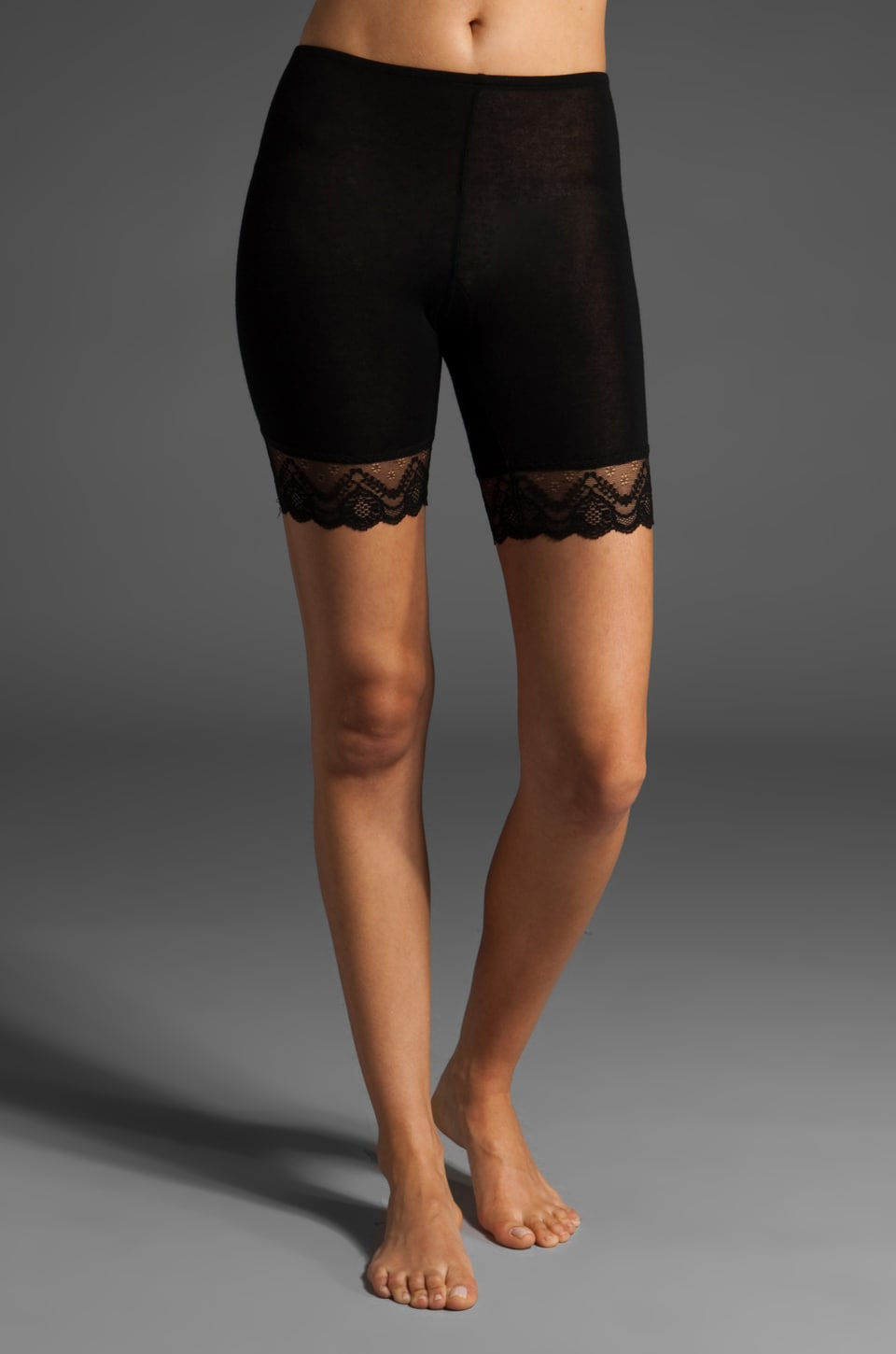 Only Hearts Feather Weight Lace Trim Mini Bike Short in Black