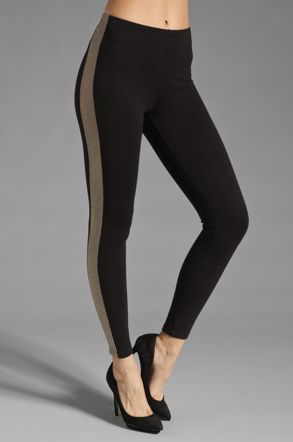 Only Hearts Metallic Tuxedo Legging in Black/Goldstone