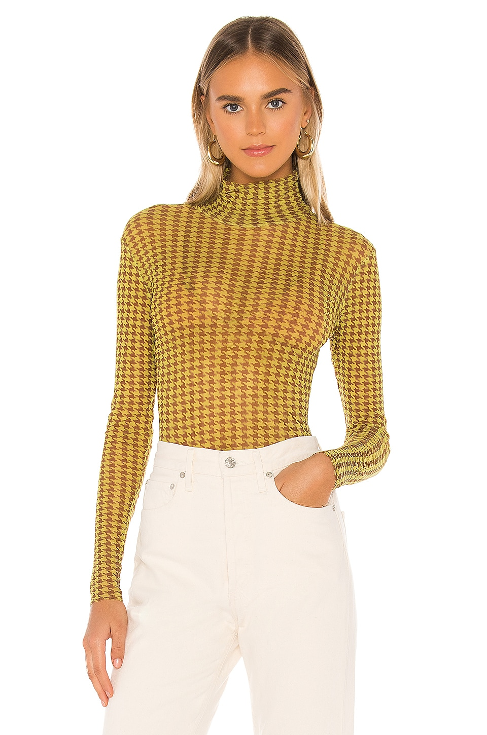 Only Hearts Houndstooth Tulle Turtleneck Bodysuit in Houndstooth