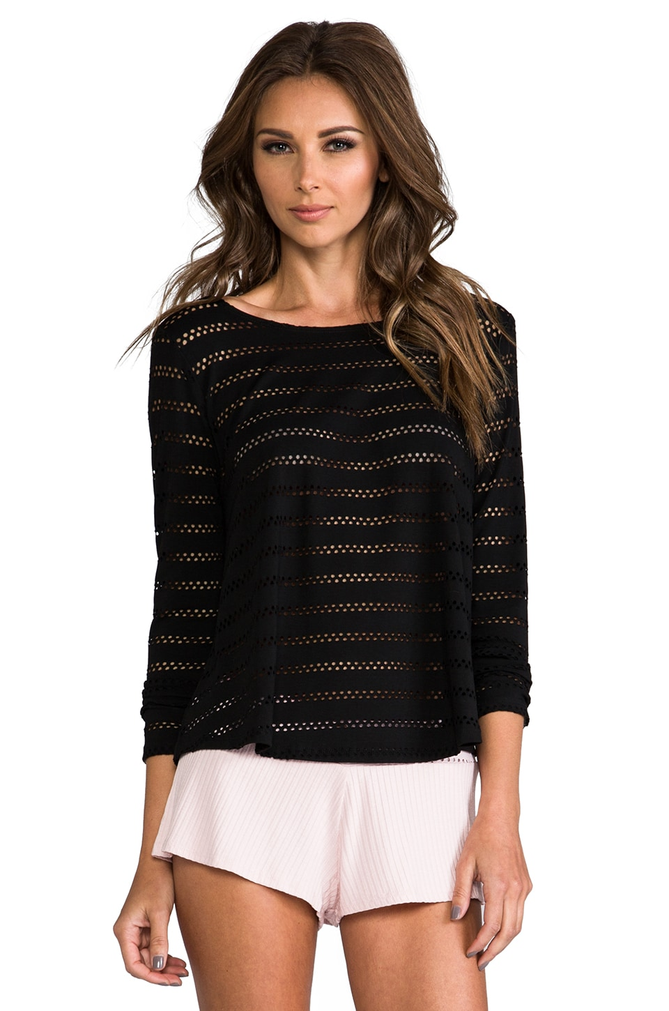 Only Hearts Eyelet Cropped Tee in Black
