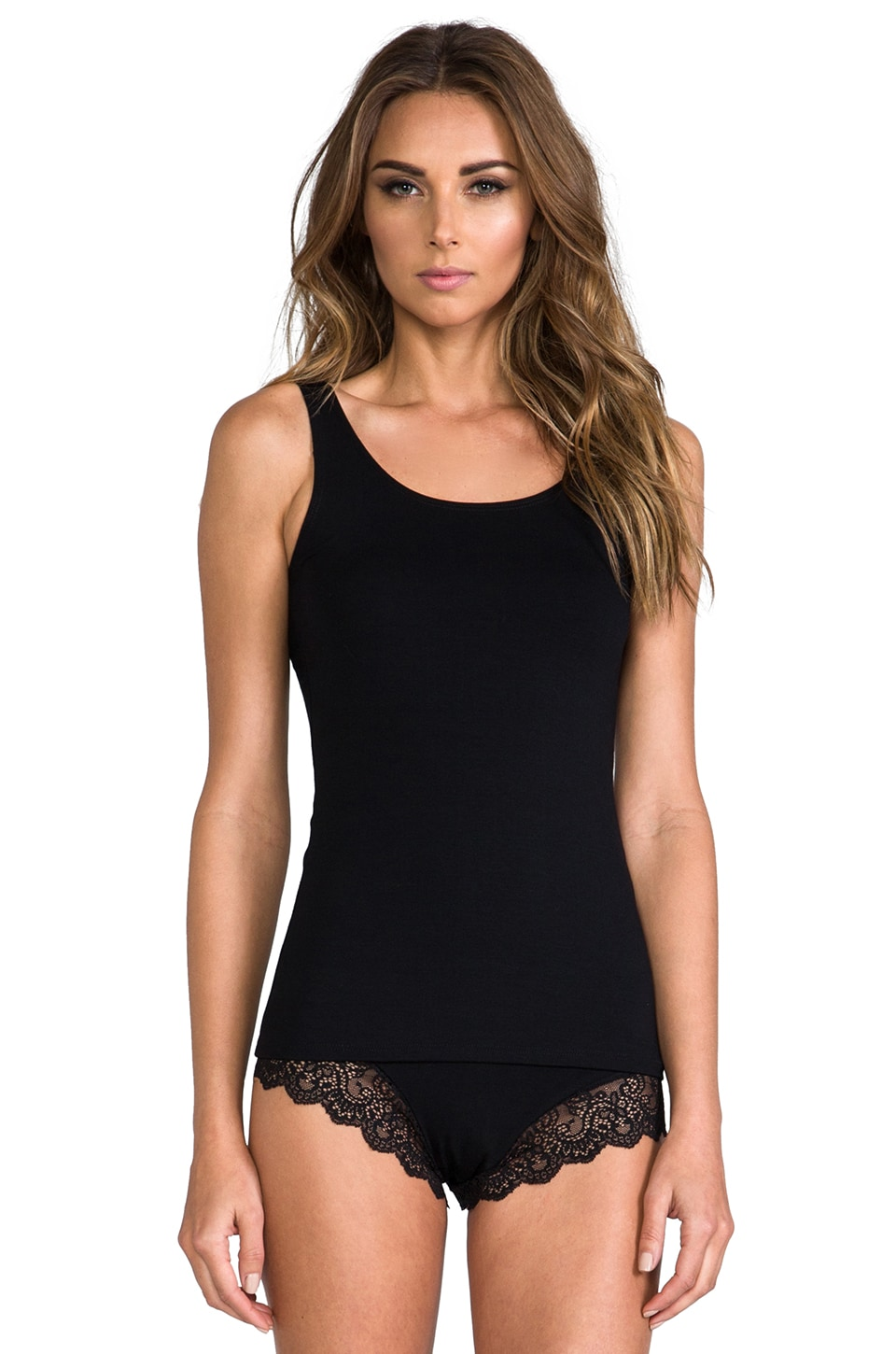 Only Hearts So Fine Lace Lace Back Tank in Black