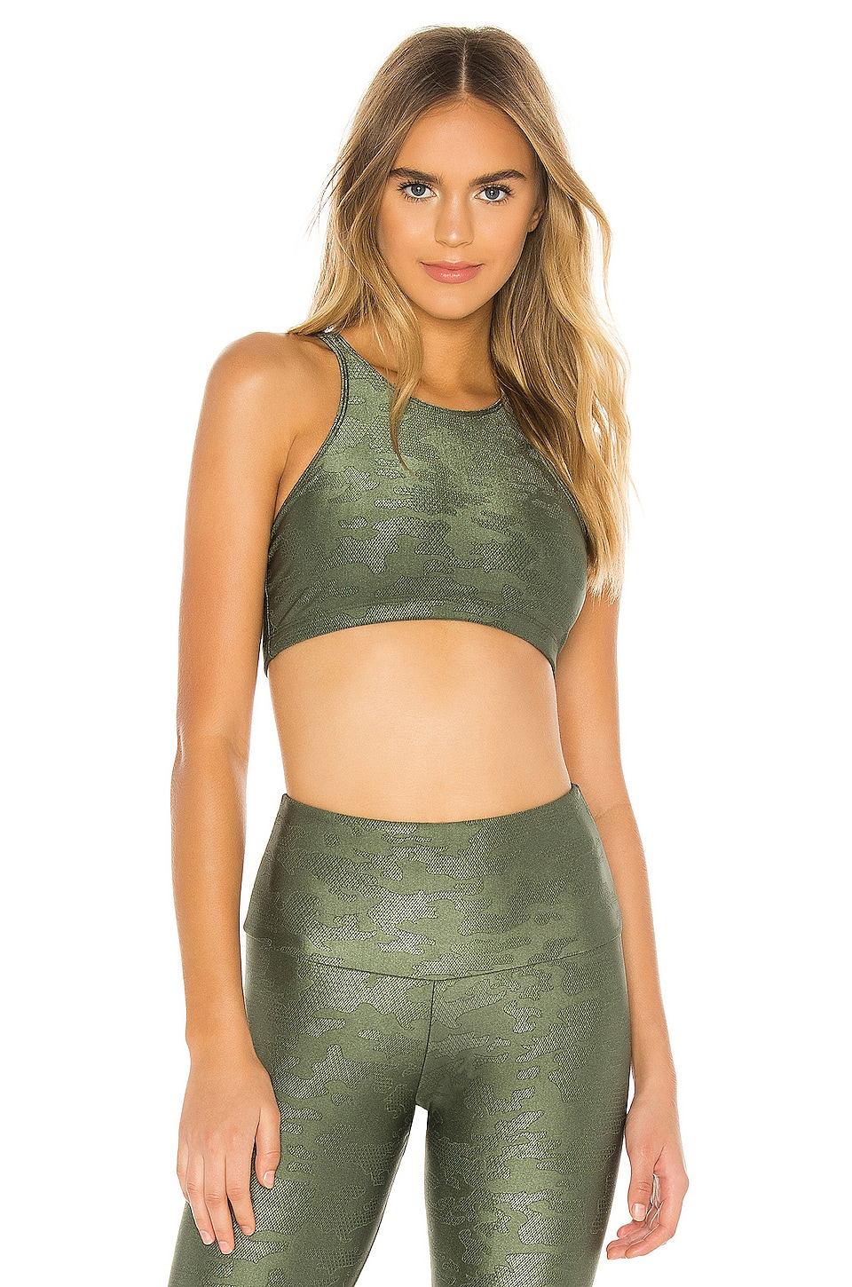 onzie Jacquard Heart Bra in Olive Twist